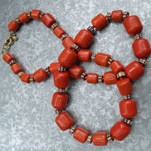 Long J.crew Orange Beaded Necklace with Crystals
